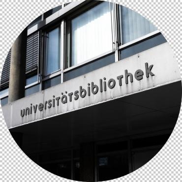Schriftzug in der debus-Schrift über dem Eingang der UB Stadtmitte
