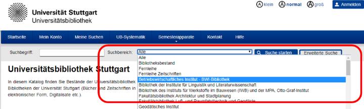 Screenshot der Onlinekatalogs mit aufgeklappter Suchbereichsauswahl